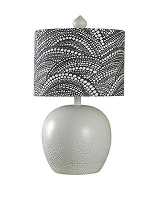 StyleCraft Barnes Bay 1-Light Table Lamp With Printed Fabric Shade, Grey/Black