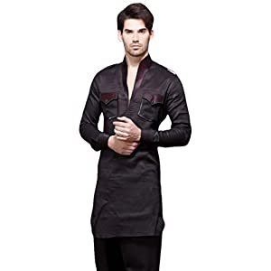 Bharat Plaza Blackish Grey Free Size Pathani Suit