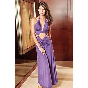 Long Key Hole Cut Out Gown Purple (BKCHL013)
