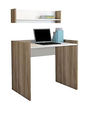 Minar Schreibtisch Crood weiß/walnuss