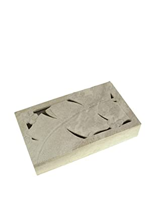 The Niger Bend Soapstone Box with Banana Leaf Design