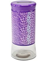 Housewares International Glass Pet Treats Container with Lid, Purple Leopard Print, 64-Ounce
