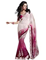 Bharat Plaza Off White Bandhej Saree