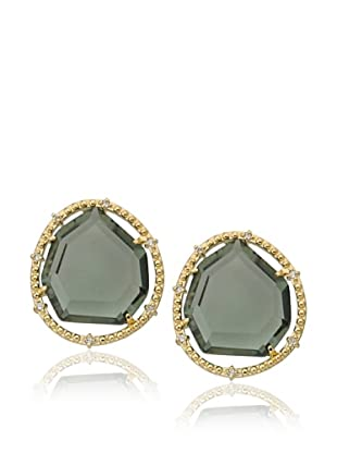 Riccova Black Sliced Glass Stud Earrings
