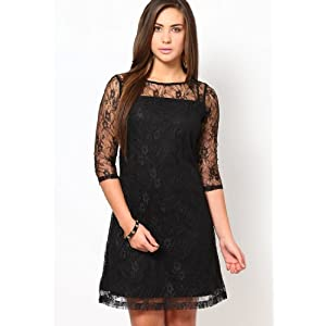 Black Lace Party Dress With 3/4Th Sleeve