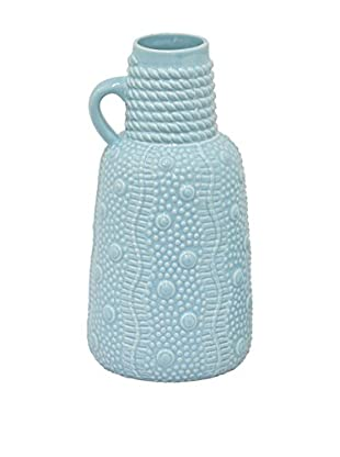 Three Hands Short Ceramic Vase with Handle, Blue