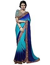 Khushali Presents Multi Embroidered And Embellished Georgette Jacquard Saree(Blue,Sky Blue)
