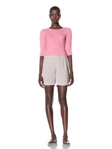 Acrobat Women's Mixed Stitch Crop Sweater (Pink)