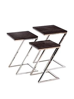 Steel Nesting Tables, Brown