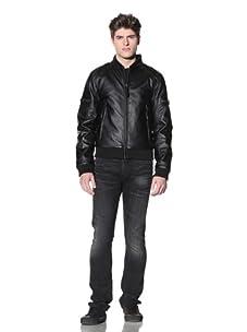 MG Black Label Men's Oi Faux-Leather Bomber Jacket (Onyx)