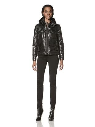 Pink Tartan Women's Reena Faux Fur Trim Jacket (Black)