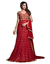 Indiankala4u Women Net Embroidered Dress Material, Red