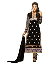 Black color unstiched salwar kameez with patch all over