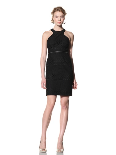 Andrew Marc Collection Women's Cut-Away Shoulder Dress with Zipper Waist (Black)