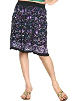 Exotic India Midi-Skirt With Embroidered Sequins and Printed Flowers - Color Purple On BlackGarment Size Free Size