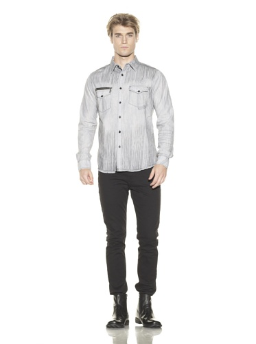 Black Hearts Brigade Men's The Whiteout Long Sleeve Button-Up Shirt (Black)