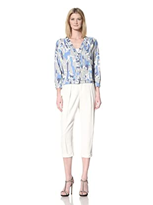 GREGORY PARKINSON Women's Printed Button-Up Top (Blueberry Lime)