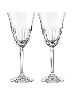 Rogaška Set of 2 Aulide 6-Oz. White Wine Glasses, Clear