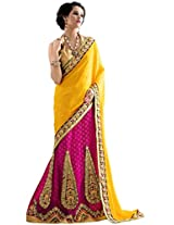 Manvaa yellow and pink viscose embroidered casual saree