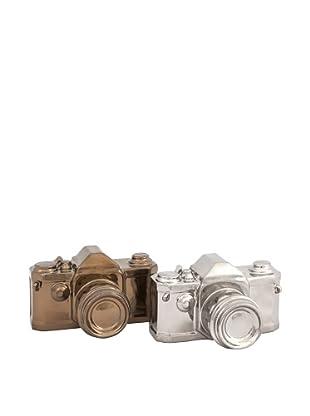 Assorted Set of 2 Asher Metallic Ceramic Cameras