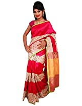 Diva Women's Raw Silk Saree (Pink and Half White )