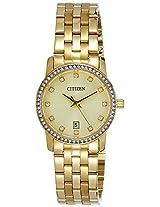 Citizen Analog Gold Dial Women's Watch - EU6032-51P