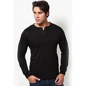 Black Solid Henley T-shirts Phosphorus
