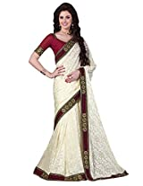 Brasso White & Colour Saree for Party Wear