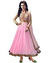 Fabfirki Women Net Anarkali Dress (Ff01-001 _Light Pink _Free Size)