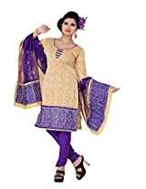 FadAttire Embroidered Chandheri Suit-Beige-ACSA03
