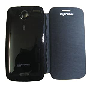 Premium Leather Flip Case Cover for Micromax Superfone Canvas HD A116 - Black