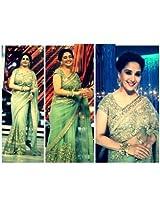 Abhaysri Fashion Bollywood Replica Madhuri Dixit Green Colour Net Fabric Bridal Party Wedding Wear Saree