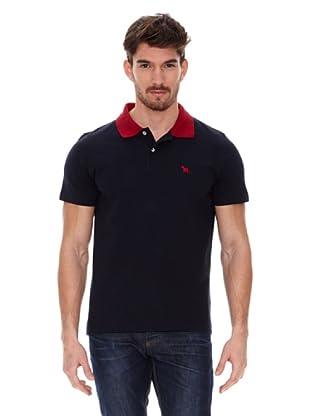 Jack Russell Polo Cuello Contraste (Negro / Rojo)