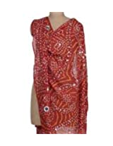 Famacart Women's Cotton Red Bandhej Dupatta Party wear wrap