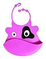 Patricia the Purple Monster Silicone Baby Bib - Tykes and Tails - Wipeable Food Grade Ultra Flexible Design for Ultra Comfort for your Baby