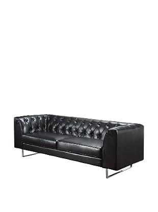 Armen Living Troika Bonded Leather Sofa, Black