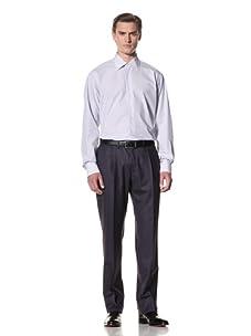 Domenico Vacca Men's Striped Button-Up Shirt (White/Thin Blue Stripes)