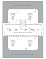 SwaddleDesigns Muslin Fitted Crib Sheet, Fox + Star, Sterling
