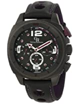 Giulio Romano Men's GR-2000-13-013 Pescara Black IP Case with Purple Aluminum Pusher Black Leather with Purple Lining and Topstitching Dual-Time Day-Date Watch