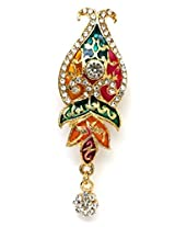 Khubsurat Saree Pin & Brooch, Multi Color Enameled & Stone Stud with Drop, Gold Tone For Women