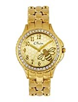 Olvin Analogue Gold Dial Women's Watch - 1698YM02