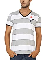 Paani Puri Men's V-Neck T-Shirt (MVNSSP02_White_X-Large)