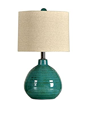 StyleCraft Ceramic 1-Light Table Lamp With Linen Hardback Shade, Turquoise/Natural
