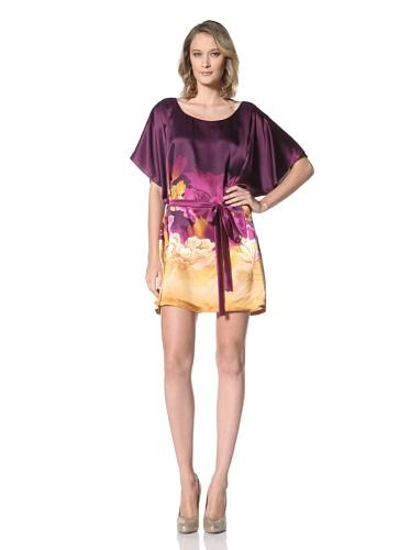 Just Cavalli Women's Short Sleeve Charmeuse Dress (Deep Fuchsia Flower Print)