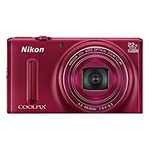 Nikon Coolpix S9600 16MP Point and Shoot Camera (Red) with 22x Optical Zoom, 8GB Card and Camera Case
