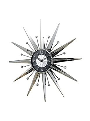 George Nelson Metal Sunray Clock, Silver/Black