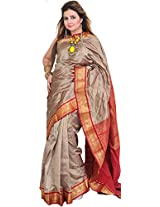 Exotic India Timber-Wolf Saree from Bangalore with Woven Bootis and Bro - Silver