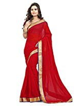 Viva N Diva Red Color Chiffon Saree.