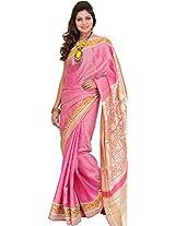 Exotic India Orchid-Smoke Patan Patola Ikat Saree from Gujarat with Woven - Pink