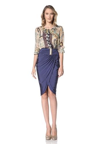 Just Cavalli Women's Navy Jersey Skirt with Gold Belt (Navy)